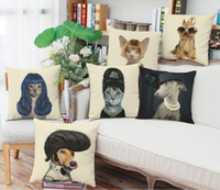 Wholesale Kinds of Vintage Humanoid Cats Dogs Animal Linen Pillow Case Linen Cushion Cover x42cm