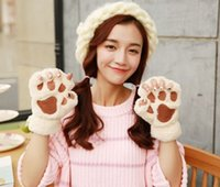 Wholesale Woman Winter Fluffy Bear Cat Plush Paw Claw Glove Novelty soft toweling lady s half covered gloves mittens