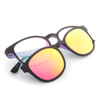 Wholesale Magnetic polarization absorption dazzle colour myopic sunglass clip Female double tungsten carbon glass frame Dual patch magnetic absorption