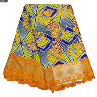 Fabric ankara wax - Ankara wax fabric with cord lace cotton latest embroidery african wax lace for party dress XDC125 XDC131