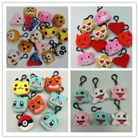 Wholesale Christmas QQ Bag KeyChains Emoji Monkey Love Pig Pikachu Dog Panda Emoji Plush Keychain Stuffed Plush Doll Toy Keyring For Mobile Pendant