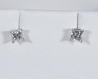 boucles d'oreille en or blanc 14 carats achat en gros de-Diamond Princess Stud Earrings Genuine 1/3 .33 14K Or blanc Carré naturel