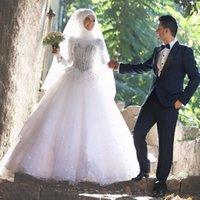 Novias musulmanes vestidos simples España-Vestidos de novia islámicos islámicos 2017 Blanco mangas largas vestidos de novia de cristales Beadings más tamaño de piso de longitud tul vestidos de novia para la novia