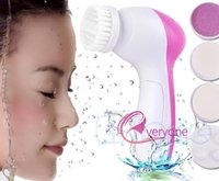 Wholesale 5 In Electric Face Wash Brush Skin Cleaner Facial Cleansing Cleanser brush Face Scrub Clean SPA Beauty Relief Massager