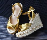 2017 Las nuevas sandalias de lujo del nudo de la cuerda de la manera del diseñador forman el talón de la plataforma de los talones de cuña calzan la mujer de los zapatos del tobillo de las mujeres del verano