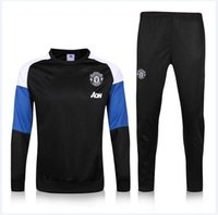 Wholesale Manchesters Long sleeve Soccer training suit men football jerseys sportswear blue foot shirts United ET