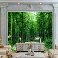 bamboo print wallpaper - D Stereo Custom HD Fresh Bamboo Fresco Mural Background Wall Living Room Wallpaper High Quality Mural