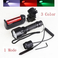 Wholesale Tactical CREE T6 LED C8 LM Flashlight Torch White Green Red fo Shotgun Rifle Pressure Switch Mount Hunting Rifle Gun Light Lamp