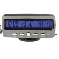 automotive indoor outdoor thermometer - Newest LCD Indoor Outdoor Car digital Thermometer Temperature Alarm clock Time Date Hour Automotive Voltage detector meter