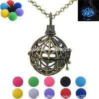 ball web - F105 LS Bronze Glow in the Dark Beads ball Floating Fragrance Spider Web Locket Essential Oils Copper Diffuser Necklace girl inch Chain
