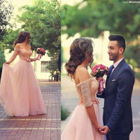 bamboo flooring sales - Arabic Style Sweetheart Off The Shoulder Lace Beaded Elegant Long Pink Prom Dresses With Half Sleeves Formal Prom Gowns On Sale
