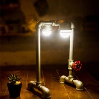 american light source - Loft North American Industrial Style Pipe Desk Lamp Table Light With Double Led Light Source For Study Working