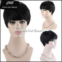 african american celebrity hair - 2017 New Pixie Cut cheap Real Hair Wig Rihanna Black Short Cut Wigs For Black Women African American Celebrity Wigs Hot Sale