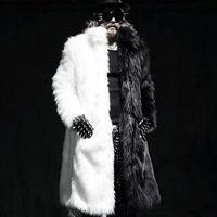 Wholesale Mens Winter Long Coats Fox Fur Manmade Mink Fur Jackets Casual Overcoats Male Plus Size Outwears plus size XL