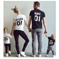 Wholesale Casual Family Matching King Queen Letter Print Shirts New Outfit T shirt Stylish Family Clothing For Mother Father Daughter Son Clothes