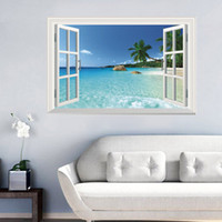beach stills - Sunshine beach wall stickers Coconut island seaview false window D wall stickers home wall background decoration