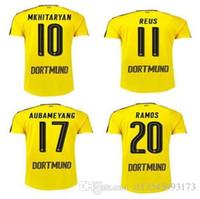Wholesale borussia Thailand Quality Dortmund Soccer Uniform Football Jerseys Embroidery Logo REUS Gotez Schurrle Aubameyang