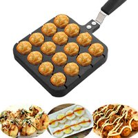 Wholesale 16 Holes Kitchen Takoyaki Ball Grill Pan Plate Octopus Ball Maker Cooking Baking Mold DIY Kitchen Cooking cmx15 cm