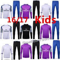 Wholesale New kids real Madrid Maillot de foot tracksuits survetement football shirts long sleeves enfant soccer training suit soccer Uniforms