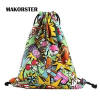 Vente en gros- MAKORSTER Coton Tissu Mode femme sac à dos féminin Sac à bandoulière doux porte-monnaie porte-monnaie sac à dos anime DJ0117