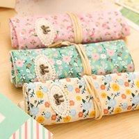 Wholesale Beautiful Girl Portable Cute Floral Canvas Roll Up Pencil Case Bag Girl Favor Makeup Cosmetic Storage Pockets Bag Pouch