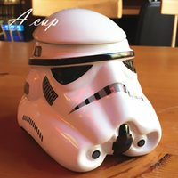 Wholesale 1PCS ml Creative Star wars Cartoon Character Pattern Ceramic Cups Black Warrior White Soldier Helmets Coffee Cups