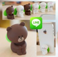 bear chat - LINE Chat Expression Cute Bear Cat Sucker Stand for iPhone Tablet Smart Phone