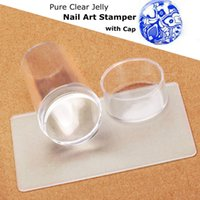 Wholesale New Design Pure Clear Jelly Silicone Nail Art Stamper Scraper with Cap Transparent cm Nail Stamp Stamping Tools