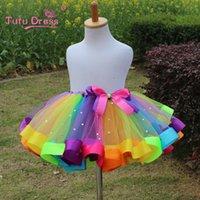 Mesh baby stage - HIGH QUALITY PC New Girls Dress Baby kids Girl Dress Tutu Dress Children With Diamond Stage Rainbow Skirt