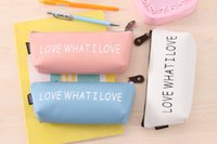 Wholesale 24pcs cm Pu Boat Pencil pen bags printed LOVE WHAT I LOVE stationery cases clutch organizer bag Gift storage pouch