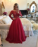 Wholesale 2017 Red Barbara Melo Long Sleeves Chiffon Prom Dresses beaded applique Bateau Top and Sexy Deep V Back Formal Evening Gowns