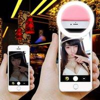 Precio de Anillo de luz led de la cámara-Carga recargable del USB con la batería El anillo portable de Selfie LED llena la cámara ligera para iPhone7 7plues 6 5s 4 Teléfono moblie androide