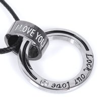 Wholesale Lovers jewelry ring necklace snake leather cord pendant PENDANT CHAIN Lobster Clasp never separate Valentine s Day gift Unisex type pendant