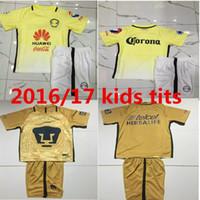 Wholesale 2017 kids kits mexico club america D BENEDETTO R SAMBUEZA O PERALTA PumasS UNAM cougares Jerseys kids football shirts