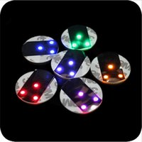 bar mats for sale - 2016 Sale New Round Placemat Led Flashing Lights for m Sticker Bottle Cup Mat Coaster for Clubs Bars Party Living Accessories
