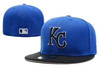 Nuevo One Piece Nuevo Hombre 2015 World Series Kansas City Royals Béisbol Equipado Sombreros Deportes Blanco Carta KC Bordado Full Closed Caps