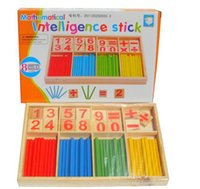 Wholesale 2016 Christmas gift Montessori Wooden Number Math Game Sticks Educational Toy Puzzle Teaching Aids Set Materials