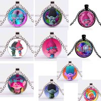 Wholesale Children Glass Dome Necklace movie jewelry Trolls poppy Picture Pendant Necklace Christmas Gift