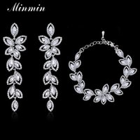 Wholesale Crystal Leaf Bridal Jewelry Sets Silver Plated Bracelets Earrings Sets Wedding African Beads Jewelry Sets SL046 EH282
