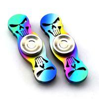 bar tops designs - 130dj Metal Colorful Rainbow Hand Spinner Skull Fidget Spinners Straight Bar Design Spinning Top Decompression Finger Toys Hot Sale
