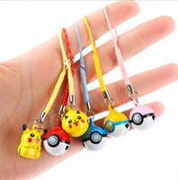 Wholesale Poke Ball Toys Jingle Bells Cell Phone Strap Charms Cartoon Poke Keychains Poke go Pocket Monsters Jingle Bells Pikachu Key Ring D741