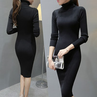 Wholesale Sweater Robe - Fashion 2016 Women Autumn Winter Sweater Dresse Slim Turtleneck Sexy Bodycon Solid Color Robe Long Knitted Dress