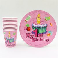 baby girl shower plates - baby shower girl pink st happy birthday party decorations set favors disposable paper plates cups glass party supplies