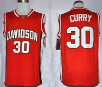 Wholesale 2017 New Davidson Wildcat Mens Stephen Curry Red College Football Basketball Throwback Jersey Free Drop Shipping Minging1225
