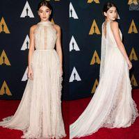 Wholesale Hailee Steinfeld Celebrity Dresses rd Oscar Awards Red Carpet Dress High Neck Sleeveless Sheer Lace Chiffon Sweep Train Evening Dress
