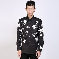 Dress Shirts acrylic paint shirt - European and American stars styke Hand painted printing all over swallow pure cotton long sleeve pointed collar men shirts
