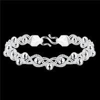 Wholesale top sale Beaded chain silver charm bracelet cm EMB396 women s sterling silver plated jewelry bracelet