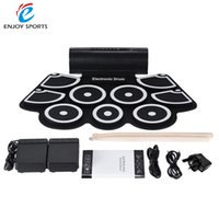 Vente en gros-Portable électronique Roll Up Drum Pad Set 9 Silicon Pads haut-parleurs intégrés avec des baguettes Pieds pédales USB 3.5mm Audio Cable