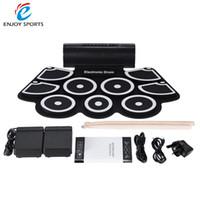 Ensembles de batterie France-Vente en gros-Portable électronique Roll Up Drum Pad Set 9 Silicon Pads haut-parleurs intégrés avec des baguettes Pieds pédales USB 3.5mm Audio Cable
