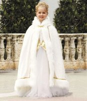 Wholesale Christmas Winter Girls Capes and Jackets with Fur and Sequins Coats Wraps for Flower Girl s Pageant Dress Two Pieces